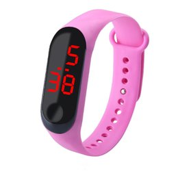 sport watch fashion led NZ - Fashion Outdoor Simple Sports Red LED Digital Bracelet Watch Men Women Colorful Silicone Watches Kids Children Wristwatch Gift