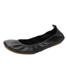 Venta al por mayor de Marca Mujer Top Bailarina de Cuero Pisos de Ballet de Fitness Zapatos Plegables Portátil Cómodo Salón de Baile Zapatos de Las Mujeres 36-42