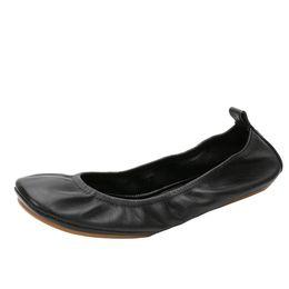 Marca Mulher Top De Couro Bailarina Ballet Fitness Flats Dobrável Sapatos Confortáveis Sapatos de Salto Confortável Mulheres 36-42 em Promoção