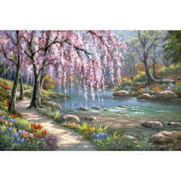 $enCountryForm.capitalKeyWord Australia - Handmade Landscapes art Cherry Blossom Creek Oil painting modern garden pictures for living room decor