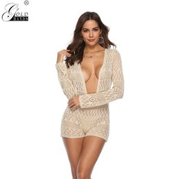 212337ef97981 Gold hands New Arrival Spring Women One Piece Sexy Cover-Ups Bikinis  Swimwear Solid Sheer Skinny Beach Clothing
