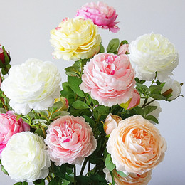 $enCountryForm.capitalKeyWord Australia - 3 Heads Artificial Rose Peony Flower Branch With Leaves Silk Flores Peonies For Indoor Home Table Decor Diy Wedding Decoration