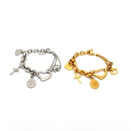 Heart Shaped Chains For Couples UK - charm couple jewelry wholesale stainless steel bracelet hollow heart shape with coin bracelet two color for choice Br4086