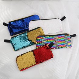 furniture pens UK - 2019 New Super Pencil Writing Case Large Capacity Sequin Pencilcase Pen Bag School Supplies Pencils Box Pouch Stationery Girls