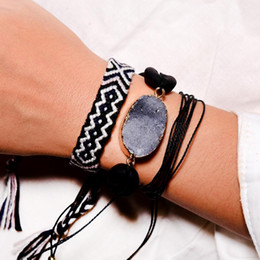 $enCountryForm.capitalKeyWord Australia - MOON GIRL 3Pcs Braided Bracelet Set Friendship Natural Stone Shell Weave Handmade String Chic Pulsera Femme Jewelry Dropshipping