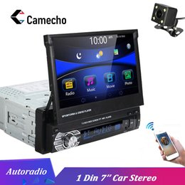 "Discount bluetooth car cameras - Camecho Car Stereo audio Radio Bluetooth 1DIN 7"" HD Autoradio Touch Screen Monitor DVD MP5 SD FM USB Player Rear Vi"