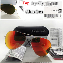flat mirrors NZ - Fashion Pilot Mirror Men Women Sunglasses G15 Glass Lens UV400 Plank Hinge Beach Party 58 62MM Vintage Eyeglass Flat With Box Case