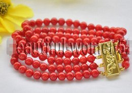 Coral Beads Strands Australia - FREE SHIPPING + 4Strds 6mm ROUND RED CORAL BEAD BRACELET 8inch