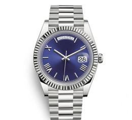 Designer Watch Straps UK - 2018 Daydate Mens Watch President Automatic Watches Men Silver Strap Blue Dial Crown Watches Men Swiss Designer Watches Day Date 40mm