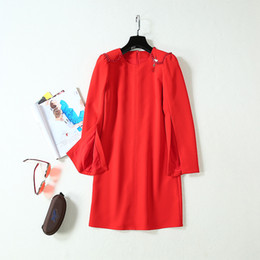 $enCountryForm.capitalKeyWord Australia - 2019 Summer Fall Long Sleeve Round Neck Pure Color Chains Black   Red Short Mini Dress Luxury Runway Dresses AG0217A2-8