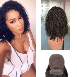 Discount curly short human hair lace front - Peruvian Unprocessed Human Hair Lace Front Wig Bob Kinky Curly Deep Wave Lace Front Wig Natural Color Bob Wigs