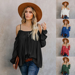 loose off shoulder shirts Canada - Long New Loose Women Cotton Color Off-the-shoulder Sling Tee Top Casual Sleeved Spring T-shirt Top Shirt Solid Hrkde