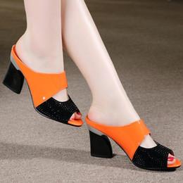 Open Toe Genuine Leather Sandals Australia - Women Genuine Leather Slippers Rhinestone Thick High-heeled Sandals Open Toe Plus Szie 34-42 C032