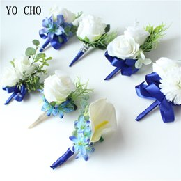 White Wrist Flower Australia - YO CHO Corsage Men Wedding Boutonniere Bridal Wrist Corsage Bracelet White Blue Groomsmen Lapel Pin Prom Party Meeting Rose Flowers Decor