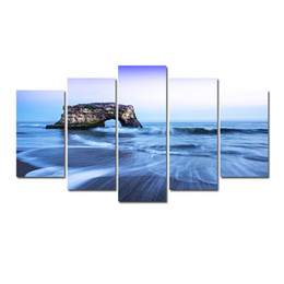 oil paint island Australia - 5 Pcs Combinations HD Fantasy Island in the Sea Pattern Unframed Canvas Painting Wall Decoration Printed Oil Painting poster
