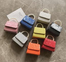 $enCountryForm.capitalKeyWord Australia - Kids Designer Purses 2019 Newest Korean Pearl Portable Small Square Bags Purses Fashion Girls Chain Cross-body Bags Birthday Gifts