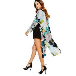 Women Blouses Xxxl Plus Size Kimono Satin Floral Print Open Front Tie Loose Thin Long Elegant Bikini Cover Ups Cardigan Blue Women's Clothing