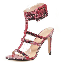 Shoes Flat Fine Australia - Hot2019 Rome Snake Shoe Woman High Square Fine. With Will Sandals 40-48 Length Year Old 85-3