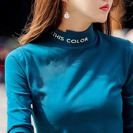 Plus Size Long Tee Australia - Autumn Winter Women T-shirt Vogue Long Sleeve Tshirts Cotton Women Slim Fit Top Plus Size 2xl 3xl Cute Tee Shirt Femme 2018 Y19042101