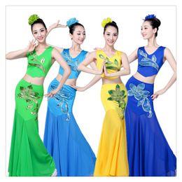 Peacock Dance Costumes NZ - Women Dai Dance Slim Design Costume Peacock Dance Performance Fishtail Wrap Hip Flower Costumes Comfortable To Wear