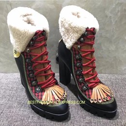 Shearling Boots Australia - Hot Autumn Winter Leather Boots Shoes Woman High Square Heels Lace Up Wool Shearling Short Boots Designer Mujer Tide