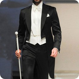 navy tailcoat tuxedo NZ - Black Men Wedding Suits Tailcoat Groom Tuxedos 3Piece Peaked Lapel Latest Coat Pant Designs Slim Terno Masculino Morning Party Costume Homme