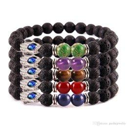 Silver Evil Eye Bracelets Australia - Hot selling evil eye bracelet Yoga Fatima hand beaded bracelets Colorful natural lava stone bracelets