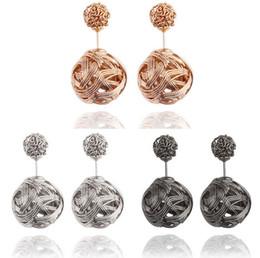 Metal Fines UK - High quality Double sided Shambala Ball Stud Earrings Metal Braided Hollow Studs disco beads Earings fine Jewelry for women girls