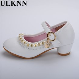 new style girl flat shoes 2019 - ULKNN Pearls Flower Girls Wedding Shoes 2017 New Style Luxury Kids Ballet Shoes For Party Children Girl Flats Slip On Pr