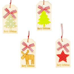 $enCountryForm.capitalKeyWord Australia - 2019 New year 4pcs Christmas wood hanging decorations with red rope Christmas tree,Elk,star wood pendants New year decoration