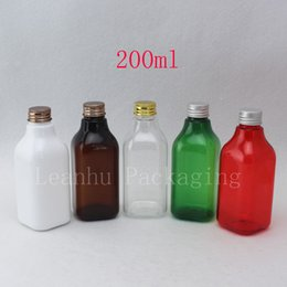 Spa Packs NZ - 200ML Empty Square Cosmetic Containers DIY SPA Massage Oil Bottle Plastic Metal Lid Cosmetics Packing Refillable Plastic Bottle