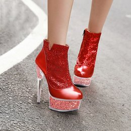 Ladies shoes gLitters online shopping - Platform Boots Glitter Women Shoes Fenty Beauty Fashion Transparent cm High Heels Spring Ladies Sequin Ankle Boots Big Size