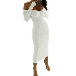 Chinese  Women Dresses Winter Sexy Clubwear Off The Shoulder Skinny Slash Neck Long Sleeve Solid Bodycon Dress Office Lady Mid-Calf White Y19012102 manufacturers