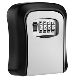 Lock key storage online shopping - Key Lock Box Wall Mounted Aluminum alloy Key Safe Box Weatherproof Digit Combination Storage Lock Indoor Outdoor
