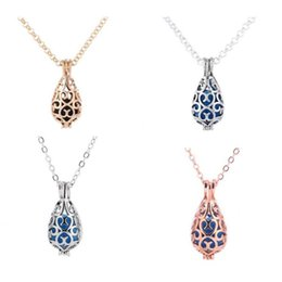 Necklaces Pendants Australia - NewTeardrop openwork essential oil necklace Pendants diffuser necklace perfume necklace aromatherapy jewelry diffusers metal volcanic stone