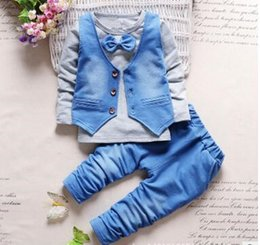 Trouser Vest Sets NZ - 2019 HOT children's clothing set fashion Baby boys suits long sleeve tshirt with bow+ vest+jeans trousers pants 3pcs