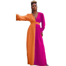 sexy long sleeve fitted dresses Australia - Contrast Color Side Split Sexy Maxi Dresses Women V Neck Full Sleeve Fit and Flare Long Dresses Ladies High Waist Causal Dress NZ19.9-62