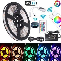 led strip lights music controller Canada - 5050 RGB Wifi Controller LED Strip light 5M 60led m Waterproof Neon Flexible Tape Ribbon Strip Bluetooth Music Control 12V Power Adapter