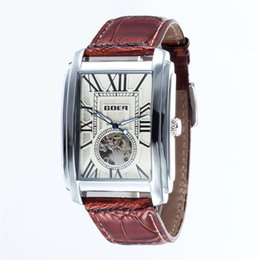$enCountryForm.capitalKeyWord UK - Relogio Masculino Top Brand Luxury Skeleton Watches Men Leather Band Rectangle Automatic Mechanical Wrist Watches For Men GOER