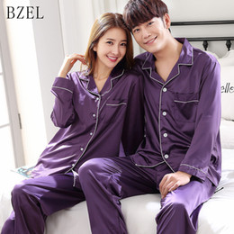 BZEL Woman Man Pajamas Set Sleepwear Couple Pajamas Satin Nightwear Long  Sleeve Homewear His-and-hers Clothes Leisure Home Cloth c61a195eb