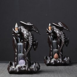 Wholesale Smoke Backflow Ceramic Incense Burner Cone Stick Holder Censer Black Furnishing Articles Decoration Home Furnace Base