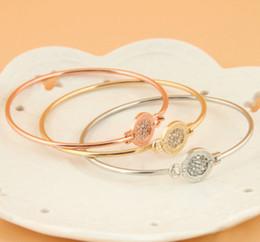 Wholesale Free Shipping Full Pave Rhinestone Disc lock Bangle Bracelet Gift