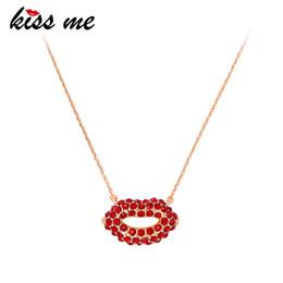 $enCountryForm.capitalKeyWord Australia - Chic Red Lip Crystal Pendant Necklace Brand Designer Gold Color Short Chain Maxi Necklace Women