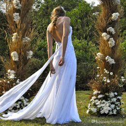 $enCountryForm.capitalKeyWord Australia - 2019 Sexy Spaghetti Straps Country Backless Wedding Dress Appliques Lace With Ribbon Beach Wedding Dresses Vestidos De Novia