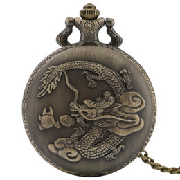 chinese watch alloy Australia - New Arrival Bronze Retro Chinese Dragon Design Quartz Fob Pocket Watch with Necklace Chain reloj de bolsillo