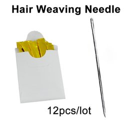 Types Human Hairs Australia - 12pcs pack 6cm Hair Weaving Needle I Type Thread Sewing Trussing Needles For Human Weft Wigs Making Hairpiece Extension Tool