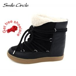 Smile Circle Winter Boots Women Shoes Hidden Wedges Boots Elevator Lace-up  Casual Shoes For Women Ankle Boots Wedge sneakers e96db40c1cc7