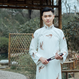 Discount embroidered robes - New ancient costume Chinese traditional Tang suit male cheongsam stand collar men's long robe cotton linen Embroide