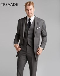 $enCountryForm.capitalKeyWord Australia - Grey Men Suits Jacket+Vest+Pant Grooms Suits For Wedding Prom Slim Fit Costume Mariage Men Wear Blazer Jacket