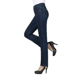 Women Blue Jeans Pants Australia - Woman Casual Denim Bootleg Pant Dark Blue Jeans Middle Aged Womens Zipper Fly Denim Trousers Mother Pantalones Plus Size Jeans
